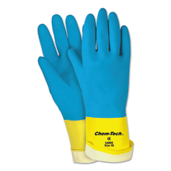 Memphis Glove Unsupported Neoprene-Over-Latex Gloves, X-Large, Blue/Yellow, Pack Of 12