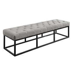 Serta Danes Tufted Bench, Pearl Gray/Iron