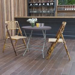 "Flash Furniture Round Rattan Plastic Folding Table, 30-1/4""H x 31-1/2""W x 31-1/2""D, Brown"