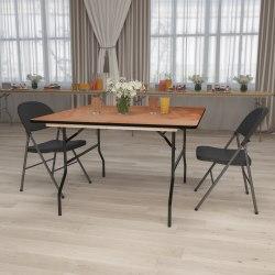 "Flash Furniture Square Folding Banquet Table, 30-1/8""H x 48""W x 48""D, Natural/Black"