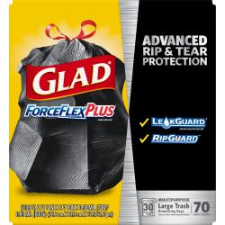 Glad® ForceFlex® Drawstring Trash Bags, 30 Gallons, Black, Box Of 70 Bags