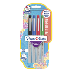 Paper Mate® Flair Felt-Tip Pens, Ultra-Fine Point, 0.4 mm, Assorted Colors, Pack Of 4 Pens