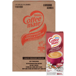 Coffee mate Cinnamon Vanilla Liquid Creamer - Cinnamon Vanilla Flavor - 0.38 fl oz (11 mL) - 200/Carton - 1 Serving
