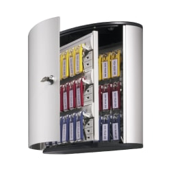 "Durable 36-Key Locking Tag-Style Aluminum Key Tag Cabinet, 11"" x 11 3/4"" x 4 5/8"", Silver"