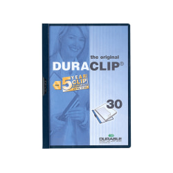 "Durable Duraclip® 30 Report Covers, 8 1/2"" x 11"", Navy"