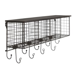 "Linon Home Décor Products Julia Metal 4-Cubby Home Office Wall Shelf, 13""H x 30""W x 6-1/2""D, Black"