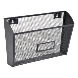 "Lorell® Mesh Single Wall Pockets, 8-3/8""H x 14""W x 3-3/8""D, Letter Size, Black, Carton Of 4 Pockets"