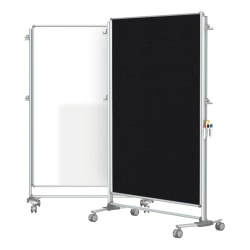 """Ghent Nexus Partition Double-Sided Mobile Magnetic Whiteboard And Bulletin Board, 65"""" x 46 1/4"""", Black Fabric/Silver Aluminum Frame"""