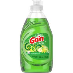 Gain Ultra Original Scent Dish Liquid - Liquid - 8 fl oz (0.3 quart) - Original ScentBottle - 18 / Carton - Green