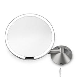 "simplehuman Sensor 5X Magnification Wall-Mount Makeup Mirror, 8"", Stainless Steel"