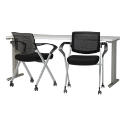 "Bush Business Furniture 400 Series 72""W x 24""D Training Table with Mesh Back Folding Chairs Set of 2, White, Standard Delivery"