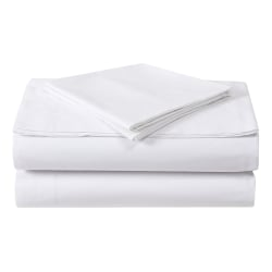 """1888 Mills Dependability Queen Long Flat Sheets, 90"""" x 115"""", White, Pack Of 12 Sheets"""