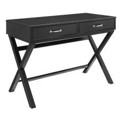 "Linon Frances 42""W Desk With 2 Drawers, Black"