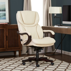 Serta® Big And Tall Bonded Leather High-Back Office Chair With Wood Accents, Inspired Ivory/Espresso