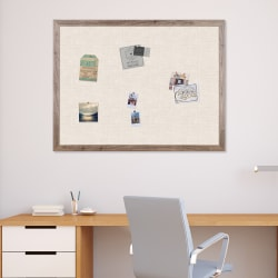 "U Brands Linen Bulletin Board, 48"" X 36"", Brown Rustic MDF Decor Frame"