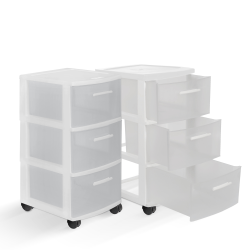 """Inval MQ 3-Drawer Rolling Storage Cabinets, 25-1/2""""H x 12-1/2""""W x 14-1/2""""D, White/Clear, Set Of 2 Cabinets"""