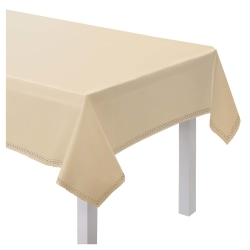 "Amscan Hem Stitch Fabric Table Cover, 60"" x 80"", Cream"