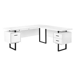 """Monarch Specialties Dallas 71""""W L-Shaped Computer Desk, White/Black"""