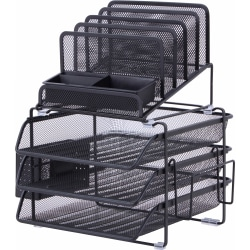 Lorell® Mesh 4-Tier Desk Organizer, Black