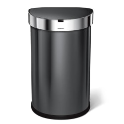 simplehuman Semiround Steel Sensor Trash Can, With Liner Pocket, 12 Gallons, Black