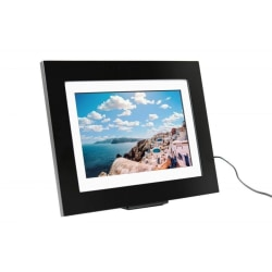 """Simply Smart Home PhotoShare Friends and Family Smart Frame 8"""" Black - 8"""" Digital Frame - Black - 1920 x 1080 - Wireless - 16:9 - Slideshow, Message Mode, Clock - Built-in 8 GB - USB - Wireless LAN - Freestanding, Wall Mountable"""