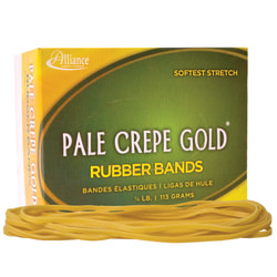 """Alliance® Pale Crepe Gold® Rubber Bands In 1/4-Lb Box, #117B, 7"""" x 1/8"""", Box Of 75"""