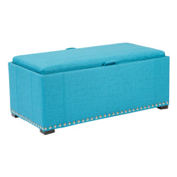 Ave Six Florence Bench With 2 Cubes, Teal/Coffee/Silver