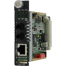 Perle CM-1110-M2ST2 Media Converter - 1 x Network (RJ-45) - 1 x ST Ports - 1000Base-LX, 10/100/1000Base-T