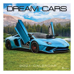 """TF Publishing Sports Monthly Wall Calendar, 12"""" x 12"""", Dream Cars, January To December 2021"""
