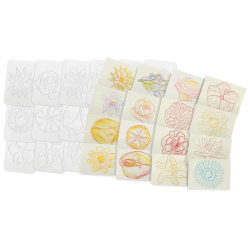 "Roylco Plastic Rubbing Plates, 4-1/2"" x 6-1/2"", Flowers, 16 Plates Per Pack, Set Of 2 Packs"