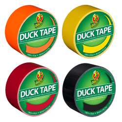 "Duck Brand Duct Tape Rolls, 1.88"" x 20 Yd/1.88"" x 15 Yd, Neon Orange/Yellow/Red/Black, Pack Of 4 Rolls"