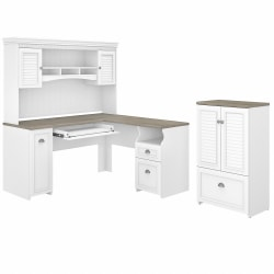 """Bush Furniture Fairview 60""""W L-Shaped Desk With Hutch And Storage Cabinet With File Drawer, Shiplap Gray/Pure White, Standard Delivery"""