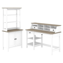 """Bush Furniture Mayfield 54""""W Computer Desk With Shelves, Desktop Organizer And Bookcase, Pure White/Shiplap Gray, Standard Delivery"""