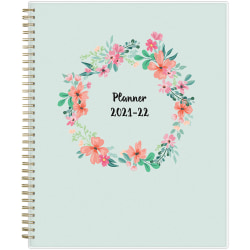 """Blue Sky™ Weekly/Monthly Planning Calendar, 8-1/2"""" x 11"""", Laurel Frosted, July 2021 To June 2022, 131947"""