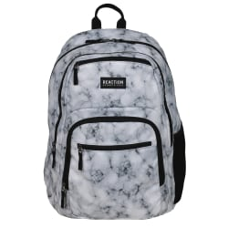 """Kenneth Cole Reaction Polyester Double Gusset Computer Backpack With 15.6"""" Laptop Pocket, White Marble"""