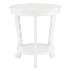 """Powell Heller Side Table With Shelf, 24"""" x 22"""", White"""