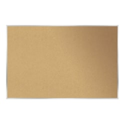 """Ghent Cork Bulletin Board, 48 1/2"""" x 96 1/2"""", Aluminum Frame With Silver Finish"""