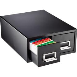 "Major Metalfab Steel 2-Drawer Index Card Storage File Box, 4"" x 6"", Black"