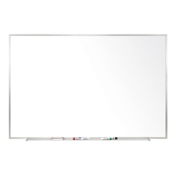 """Ghent Magnetic Porcelain Dry-Erase Whiteboard, 48"""" x 96"""", Aluminum Frame With Silver Finish"""