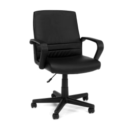 OFM Essentials Vinyl Mid-Back Chair, Black