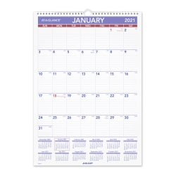 """AT-A-GLANCE® Erasable Monthly Wall Calendar, 12"""" x 17"""", January To December 2021, PMLM0228"""