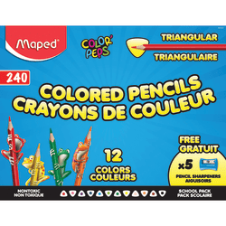 Maped Color'Peps Triangular Colored Pencils, 2.9 mm, Assorted Colors, Pack Of 240 Pencils