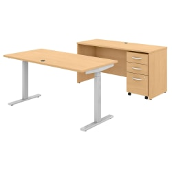"""Bush Business Furniture Studio C 60""""W x 30""""D Height-Adjustable Standing Desk, Credenza And Mobile File Cabinet, Natural Maple, Standard Delivery"""
