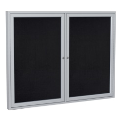 "Ghent 2-Door Enclosed Recycled Rubber Bulletin Board, 48"" x 60"", Black Satin Aluminum Frame"
