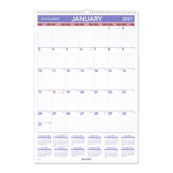 """AT-A-GLANCE® Erasable Monthly Wall Calendar, 15-1/2"""" x 22-3/4"""", January To December 2021, PMLM0328"""