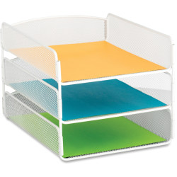 "Safco Onyx Letter Tray - 3 Compartment(s) - 3 Tier(s) - 8"" Height x 9.3"" Width x 11.8"" Depth - Desktop - White - Steel - 1Each"