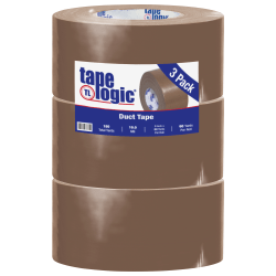 """Tape Logic® Color Duct Tape, 3"""" Core, 3"""" x 180', Brown, Case Of 3"""