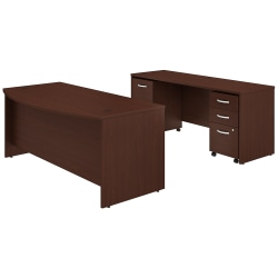 """Bush Business Furniture Studio C Bow Front Desk And Credenza With Mobile File Cabinets, 72""""W x 36""""D, Harvest Cherry, Premium Installation"""