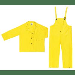 Three-Piece Rain Suit, Jacket/Hood/Pants, 0.28 mm PVC/Nylon, Yellow, X-Large