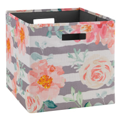 Linon Home Décor Products Emmet Storage Bins, Floral, Rose/Gray, Pack Of 2 Bins